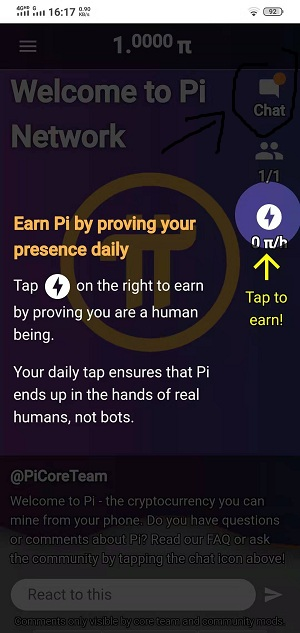 Pi,手机挖矿软件,每天简单操作领π币