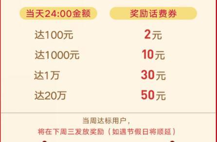 微众银行买活期可得2到50元的话费券